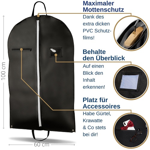 FiRiO kleidersack anzug schutzhülle kleidersäcke kleidertasche kleiderhülle mit reißverschluss anzugsack anzughülle